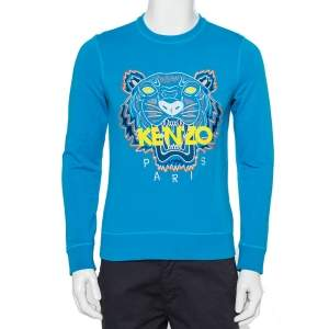 Kenzo Blue Tiger Embroidered Cotton Crewneck Sweatshirt S