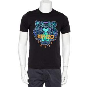 Kenzo Black Tiger Printed Cotton Holiday Capsule T-Shirt S