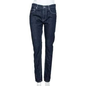 Kenzo Navy Blue Denim Contrast Detail Tapered Leg Jeans S