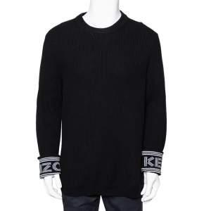 Kenzo Black Knit Logo Cuff Rib Sweater M