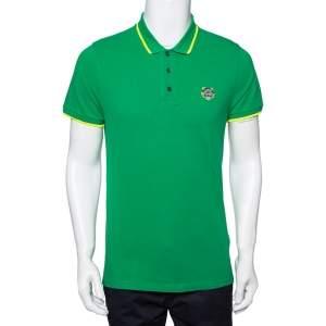 Kenzo Green Cotton Mini Tiger Patch Polo T-Shirt M