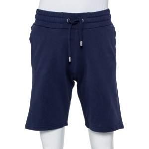 Kenzo Navy Blue Cotton Logo Printed Shorts M