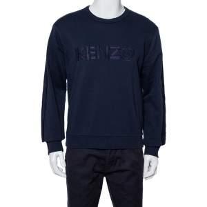 Kenzo  Navy Blue Logo Embroidered Cotton Sweatshirt M