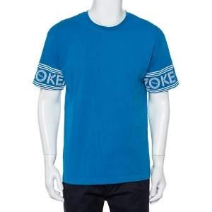 Kenzo Blue Cotton Logo Print Detail Crewneck T-Shirts L