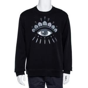 Kenzo Black Eye Embroidered Cotton Crewneck Sweatshirt XL