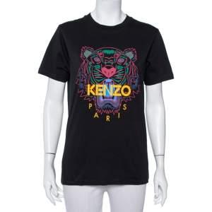 Kenzo Black Tiger Printed Cotton Crewneck T-Shirt S