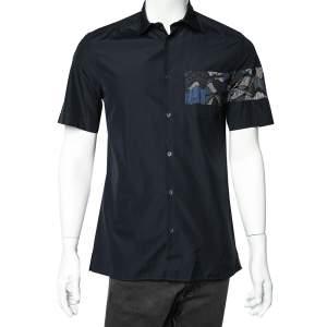 Kenzo Navy Blue Cotton Contrast Patch Detail Short Sleeve Slim Fit Shirt M