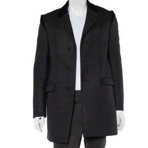 معطف كينزو طويل للمنتصف صوف رصاصي داكن بأزرار أمامية مقاس صغير - سمول
