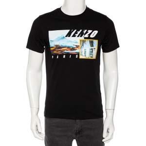 Kenzo Black Landscape Printed Cotton Jersey T-Shirt S