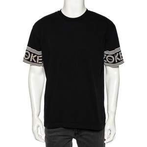 Kenzo Black Cotton Logoed Bands Detailed Crew Neck T-Shirt L