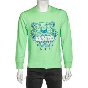 Kenzo Neon Green Tiger Embroidered Cotton Knit Sweatshirt M
