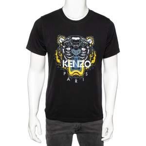 Kenzo Black Cotton Tiger Printed Short Sleeve Crew Neck T-Shirt L