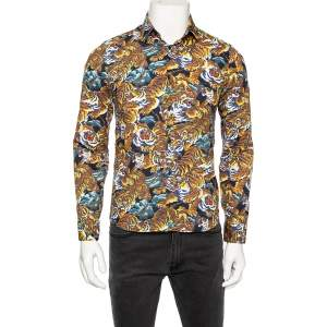 Kenzo Multicolored Flying Tiger Printed Cotton Button Front Shirt S