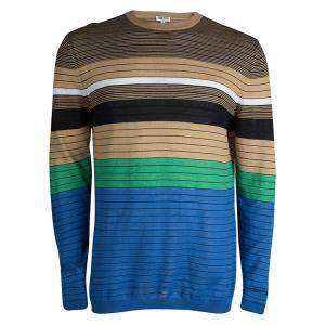 Kenzo Multicolor Striped Crew Neck Sweater L