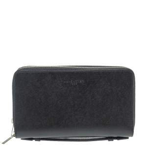 Lancaster Black Leather Mathias Double Zip Travel Organizer Wallet