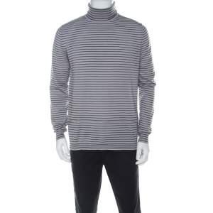 Lanvin Grey Wool Striped Turtle Neck Sweater L