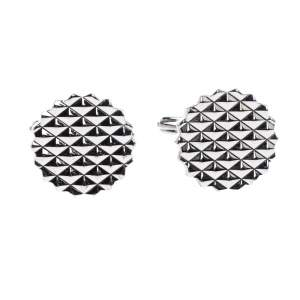Lanvin Engraved Silver Plated Round T-Bar Cufflinks