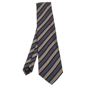 Lanvin Vintage Diagonal Striped Silk Tie