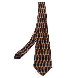 ربطة عنق لانفان  فينتاج تراديشنال حرير بطبعة هندسية بني