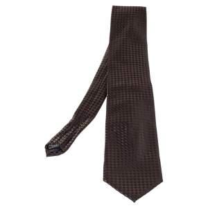 Lanvin Vintage Brown & Black Checkered Silk Traditional Tie