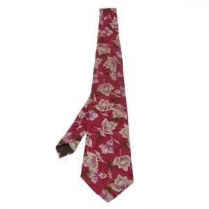 Lanvin Burgundy Floral Print Traditional Silk Tie