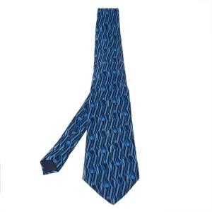 Lanvin Navy Blue Geometric Paisley Print Traditional Silk Tie