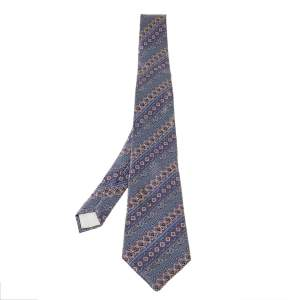 Lanvin Pale Purple Paisley Pattern Print Silk Tie