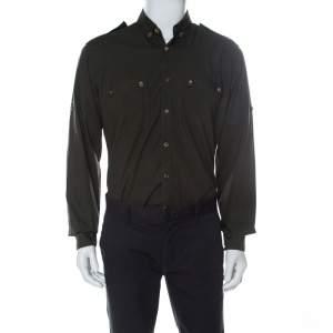 Lanvin Safari Green Cotton Button Down Shirt L