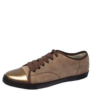 Lanvin Brown Suede and Leather DDB1 Low Top Sneakers Size 41