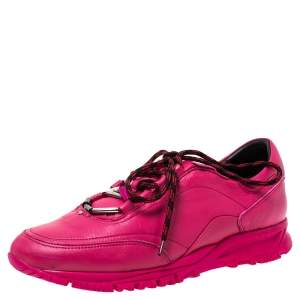 Lanvin Pink Leather Lace Up Sneakers Size 40