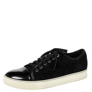 Lanvin Black Suede and Patent DDB1 Low Top Sneakers Size 41