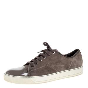 Lanvin Dark Grey Suede and Patent Leather DDB1 Low Top Sneakers Size 45