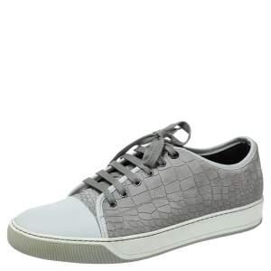 Lanvin Grey Crocodile Effect Leather Sneakers Size 40