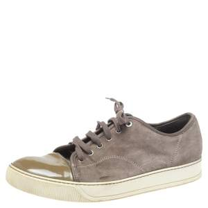 Lanvin Brown/Green Patent And Suede Leather Low Top Sneakers Size 43