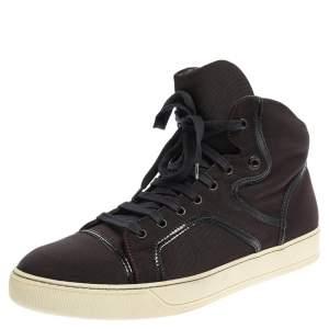 Lanvin Burgundy Nylon High Top Sneakers Size 43