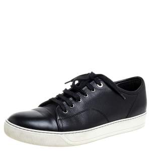 Lanvin Black Leather Low Top Sneakers Size 42