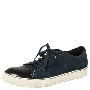 Lanvin Blue/Black Suede and Patent Leather Low Top Sneakers Size 42