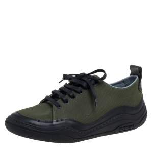 Lanvin Green/Black Canvas And Leather Sneakers Size 41