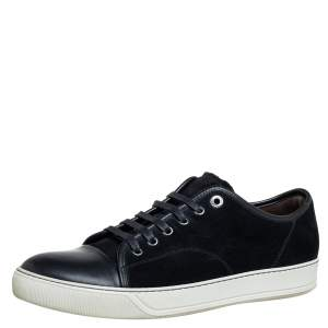 Lanvin Black Suede And Leather DDB1 Low Top Sneakers Size 43