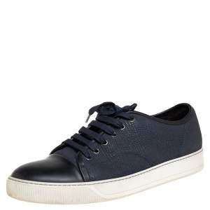 Lanvin Navy Blue/Black Textured Leather DBB1 Low Top Sneakers Size 44
