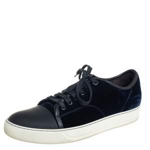 Lanvin Blue/Black Velvet And Leather Cap Toe Low Top Sneakers Size 41