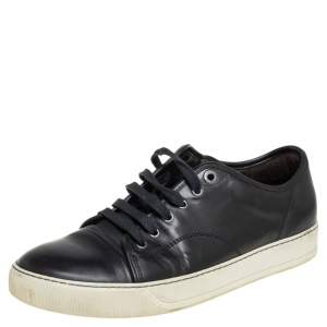 Lanvin Black Leather Low Top Sneakers Size 41