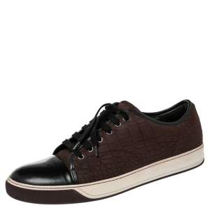 Lanvin Black/Maroon Croc Embossed Nubuck and Leather DDB1 Low Top Sneakers Size 44