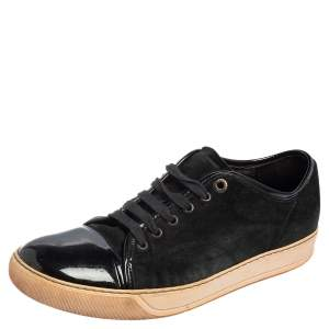 Lanvin Black Suede And Patent Cap Toe Low Top Sneakers Size 43