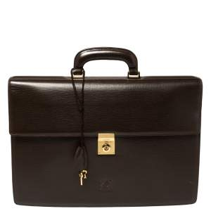 Loewe Brown Leather Lock Briefcase