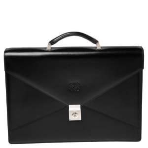 Loewe Black Leather Anagram Embossed Briefcase