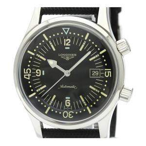 Longines Black Stainless Steel and Leather Legend Diver L3.674.4 Men's Wristwatch 42MM