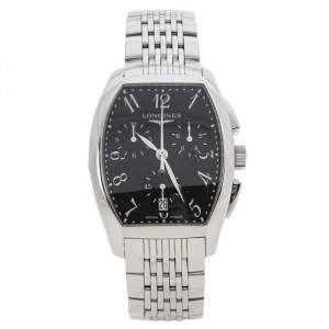 Longines Black Stainless Steel Evidenza L2.656.4.53.6 Men's Wristwatch 34 mm