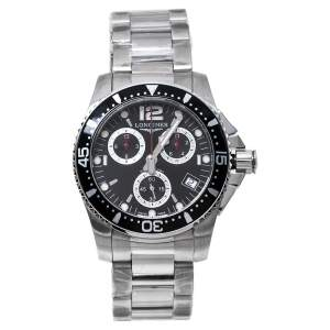ساعة يد رجالية لونجين هيدرو كونكويست أل3.643.4.56.6 ستانلس ستيل سوداء 41 مم