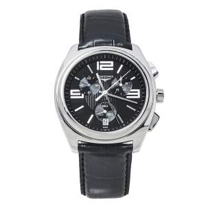 Longines Black Stainless Steel Leather LungoMare Quartz Chronograph Men's Wristwatch 42 MM